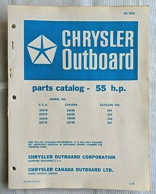 1968 CHRYSLER 55Hp Outboard Motor Parts Manual / Ob 1025 - $1399