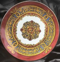 VINTAGE BURGUNDY DECORATIVE Plate Fleur De Lis Design ...