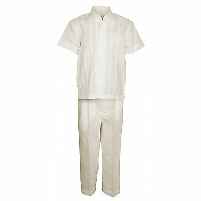 TODDLER IVORY 100 Linen Set Embroidered Shirt with Pant Sizes 2T