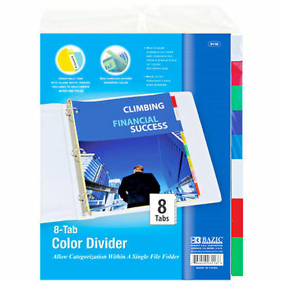 BAZIC 3-RING BINDER Dividers w/ 8-Insertable Color Tabs File Folder