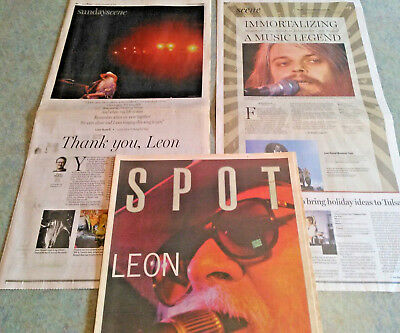 LOT OF 3 Leon Russell Tulsa Tribute Newspaper Sections  Magazine
