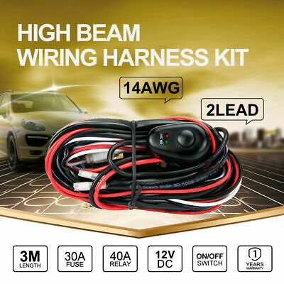 DC 12V 30A Wiring Harness kit Loom 14AWG Wire For LED LIGHT BAR