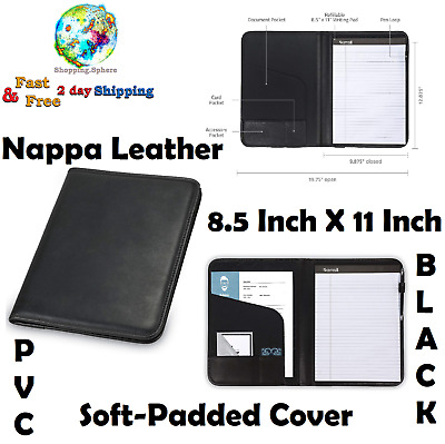 BLACK LEATHER RESUME Portfolio Planner Organizer Pocket Holder