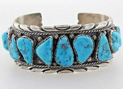 Turquoise Nugget Bracelet Vintage Sterling Silver Cuff S7