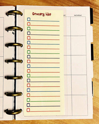 GROCERY LIST TWO Sided SHORT Dashboard for use with Filofax A5