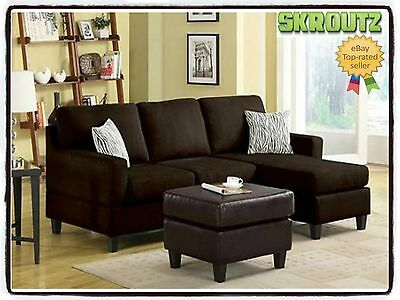 Brown Fabric Sectional Sofa W/ Reversible Chaise Lounge Living