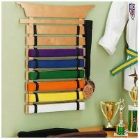 KARATE BELT Display Rack 15 Slats Personalized And Stained