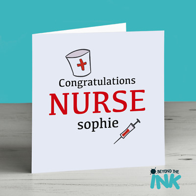 PERSONALISED NEW JOB Card For A Nurse - Congratulations - Leaving