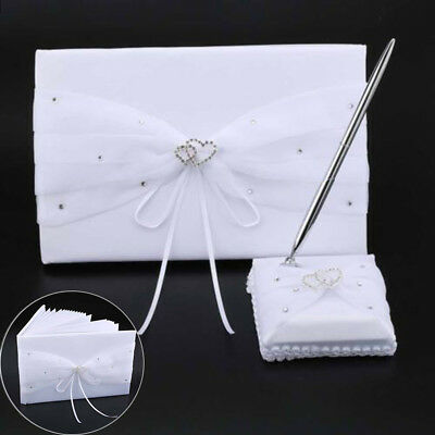 WHITE VICTORIA LYNN Satin Wedding Guest Book with Tulle and Beading