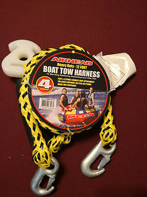 AIRHEAD HEAVY-DUTY 12FT Boat Tow Harness 4 Riders Ski Tube Towable