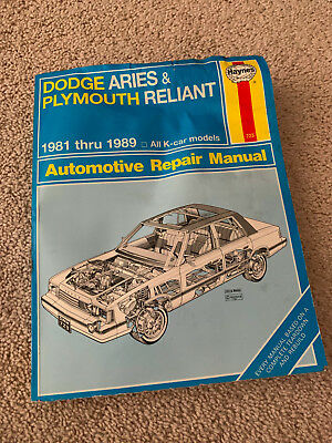 HAYNES REPAIR MANUAL 30008 1981-89 DODGE ARIES PLYMOUTH RELIANT