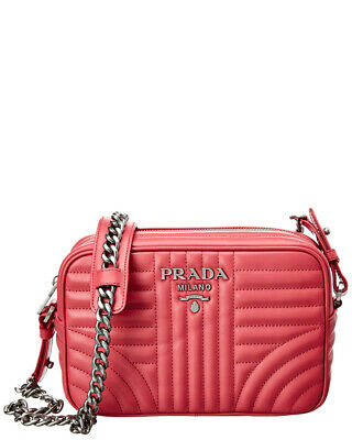 NEW PRADA DIAGRAMME Quilted Leather Chain Crossbody Camera Handbag