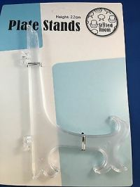 PLATE STAND CLEAR 2 x large 18cm plate display stands ...