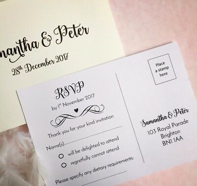 RSVP CARDS IVORY or white wedding and more A6 size postcard style