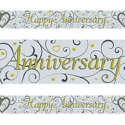 HAPPY ANNIVERSARY GOLD Plastic Colourful Foil Holographic Banner 27
