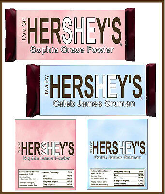 24 BABY SHOWER Favors Candy Bar Wrappers Hershey Wrappers - $1699