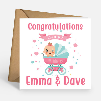 IT\u0027S A GIRL Congratulations Baby Girl Personalised Cards New Baby
