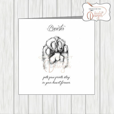 PET WITH SYMPATHY Card Loss Bereavement Condolence Dog Pawprint CAN