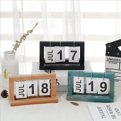 FLIP CHART PERPETUAL Calendar with Wooden Frame Office Home Desk