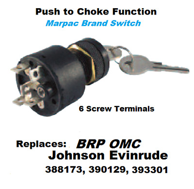 IGNITION KEY SWITCH with Push to Choke Johnson/Evinrude Replaces