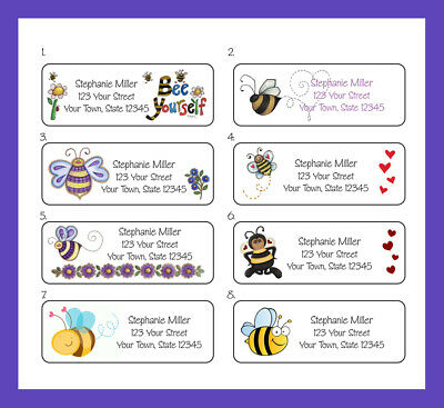 PERSONALIZED BEE DESIGNS Return Address Labels, 30 Per Sheet, Bee