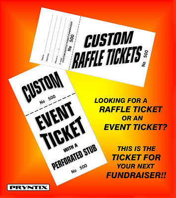 1000 RAFFLE TICKETS - Custom Printed, Numbered  Perforated Card