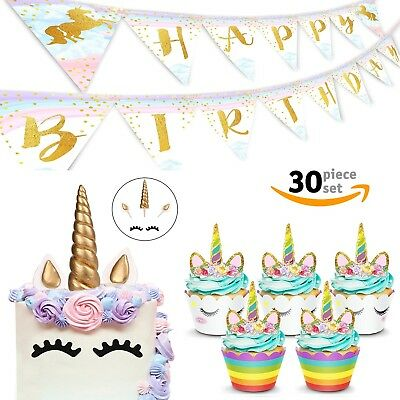 UNICORN CAKE  Cupcake Toppers Set w/ Magical Birthday Banner Party