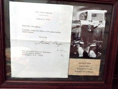 RICHARD NIXON RESIGNATION Letter Signed - With Certificate of