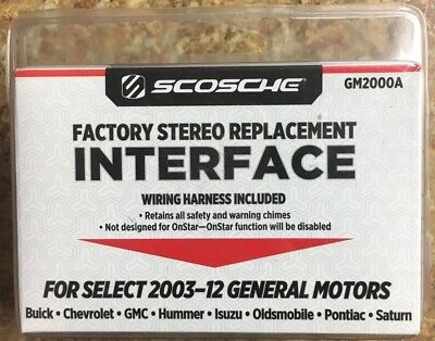 NEW SCOSCHE FACTORY Stereo Replacement Interface (GM2000A) 2003-12