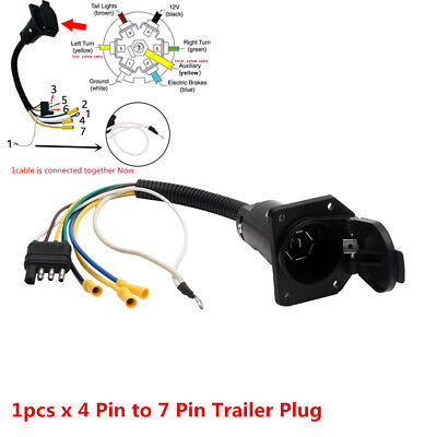 NEW 4 FLAT to 7 Way RV Trailer Light Plug Wire Harness Converter