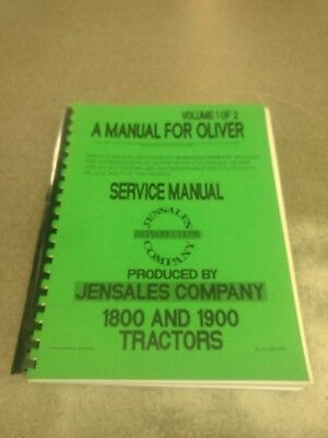 1800 OLIVER TRACTOR Technical Service Shop Repair Manual - $1799