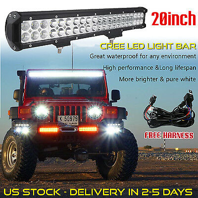 20INCH CREE LED Light Bar SUV ATV Offroad Truck Jeep Jeep + Wiring