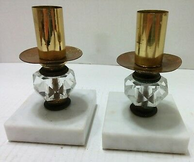 Vintage Pair 2 Glass Crystal 8quot Candlesticks Candle