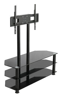 Cantilever Glass Tv Stand With Bracket 2 Shelves For 27 55