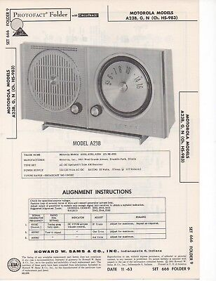 1963 MOTOROLA A23B A23G A23N Radio Service Manual Schematic Diagram