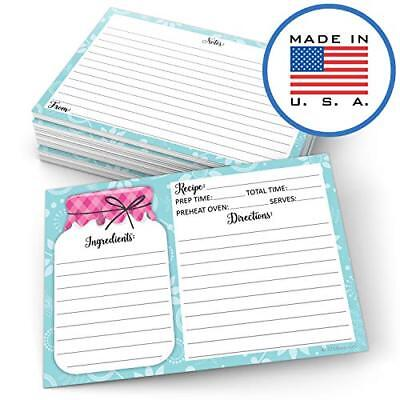 MASON JAR RECIPE Cards - 50 Double Sided Cards, 4x6 Inches Thick