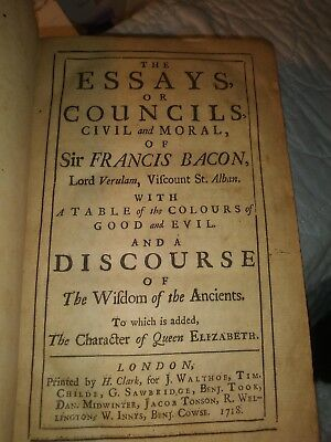 ESSAYS OF SIR Francis Bacon Counsels, Civil  Moral - Limited