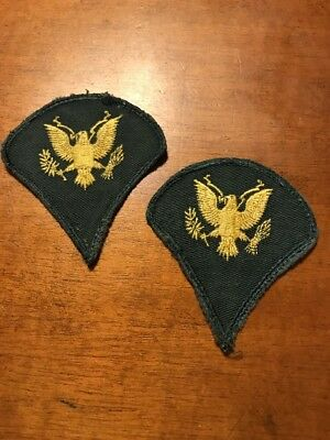 2 VINTAGE US Army E4 Specialist Patch - Gold Eagle on Green - $500