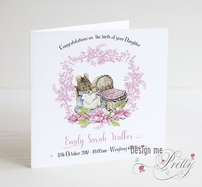 PERSONALISED BEATRIX POTTER NEW BABY Card - Congratulations Birth