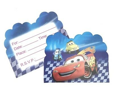 DISNEY CARS Birthday Party Invitations 10 pieces Kids US Seller New