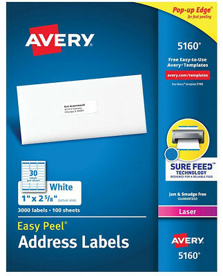 300 AVERY 5160/8160 Shipping/address Labels 30 Per Sheet 10 Sheets