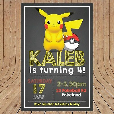 PERSONALISED PIKACHU POKEMON Party Invites Invitations DIGITAL - YOU