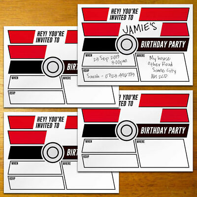 POKEMON A6 DIY Birthday Invitations - invites party supplies