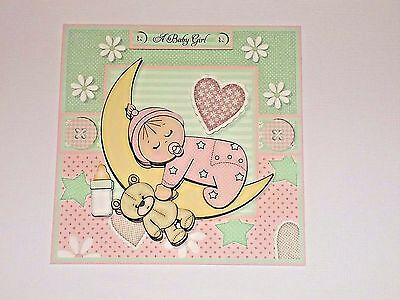 HANDMADE GREETING Card 3D New Baby Girl With A Baby On The Moon - greeting for new baby girl