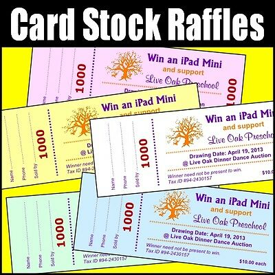 CARD STOCK 100 Raffle Tickets, Custom, Stub, Numbers, Color Paper