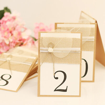 TENT STYLE 1-10 Numbers Place Cards Kraft Leaf Burlap Wedding Table