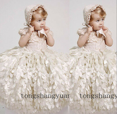 HANDMADE LUXURY BABY Baptism Dresses White Ivory With Bonnet