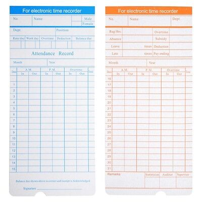 50X WEEKLY TIME Clock Cards Timecard for Employee Attendance Payroll - employee attendance card