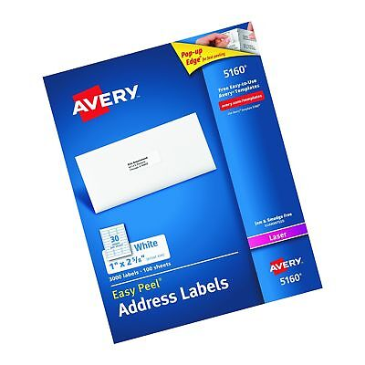 AVERY EASY PEEL Address Labels for Laser Printer 1 x 2-5/8 White