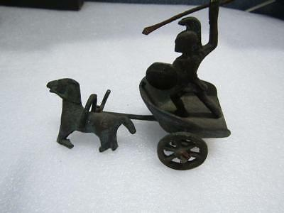 VINTAGE BRASS ROMAN Soldier Gladiator on Chariot with Spear - $1600